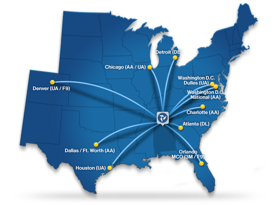 HSV Nonstop Destinations Map