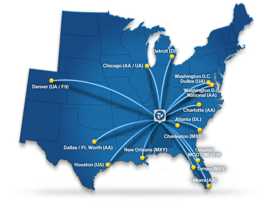 HSV Nonstop Destinations Map