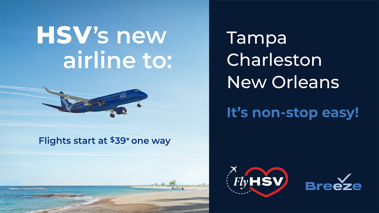 HSV's new airline to: Tampa, Charleston, New Orleans. It's non-stop easy! Flights starting at $39* one way