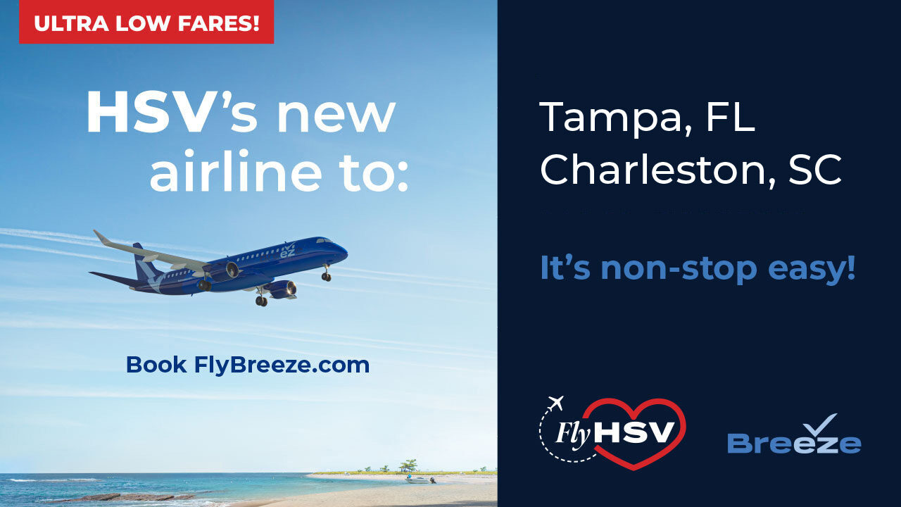 HSV's new airline to: Tampa and Charleston. It's non-stop easy! Ultra Low Fares!